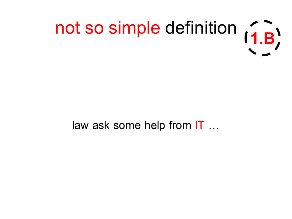 not so simple definition law ask some help from IT … 1.B