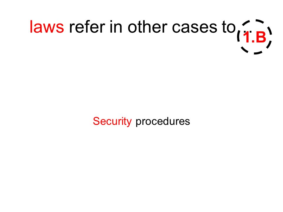 laws refer in other cases to… Security procedures 1.B