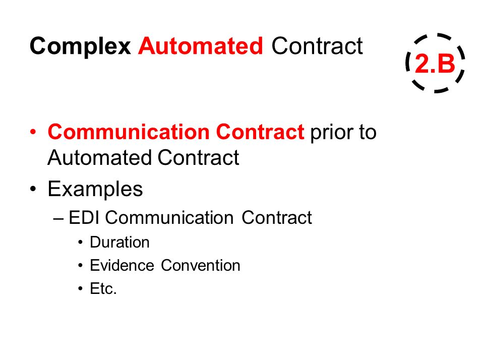 Complex Automated Contract Communication Contract prior to Automated Contract Examples –EDI Communication Contract Duration Evidence Convention Etc.