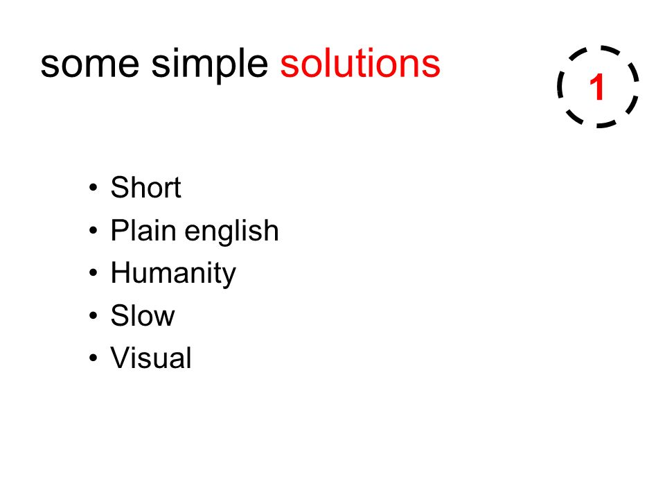 some simple solutions Short Plain english Humanity Slow Visual 1