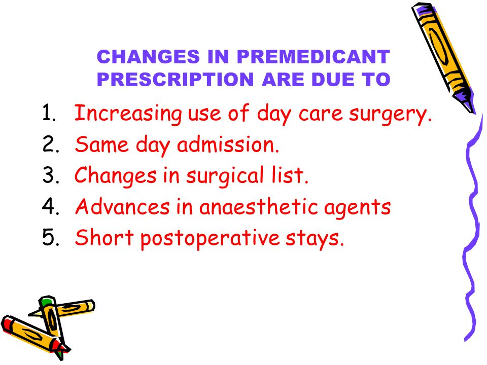 CHANGES IN PREMEDICANT PRESCRIPTION ARE DUE TO 1.Increasing use of day care surgery.
