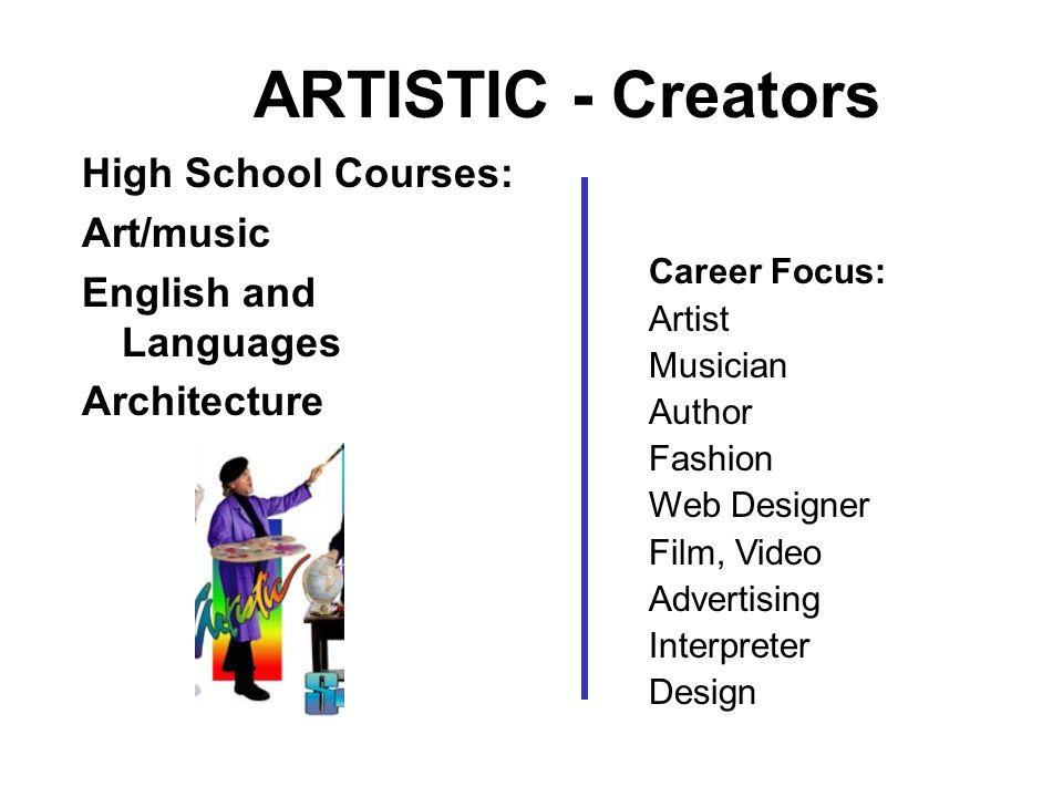 ARTISTIC - Creators High School Courses: Art/music English and Languages Architecture Career Focus: Artist Musician Author Fashion Web Designer Film,