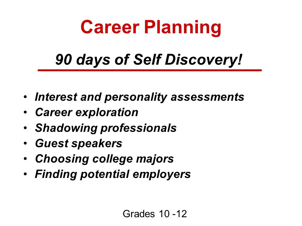 Career Planning 90 days of Self Discovery! Interest and personality assessments Career exploration Shadowing professionals Guest speakers Choosing col