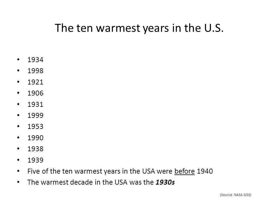 The ten warmest years in the U.S. 1934 1998 1921 1906 1931 1999 1953 1990 1938 1939 Five of the ten warmest years in the USA were before 1940 The warm