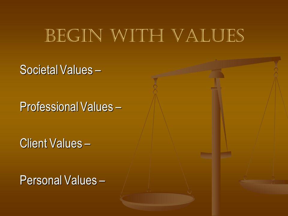 Begin With Values Societal Values – Professional Values – Client Values – Personal Values –