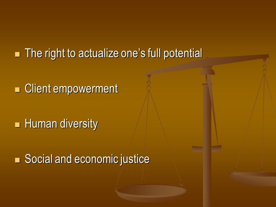 The right to actualize ones full potential The right to actualize ones full potential Client empowerment Client empowerment Human diversity Human dive