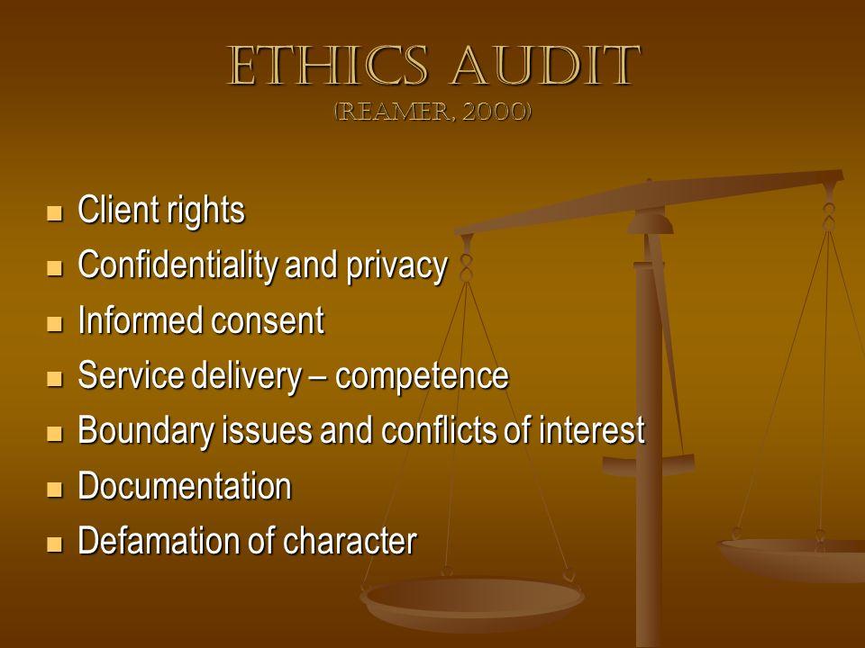 Ethics Audit (Reamer, 2000) Client rights Client rights Confidentiality and privacy Confidentiality and privacy Informed consent Informed consent Serv