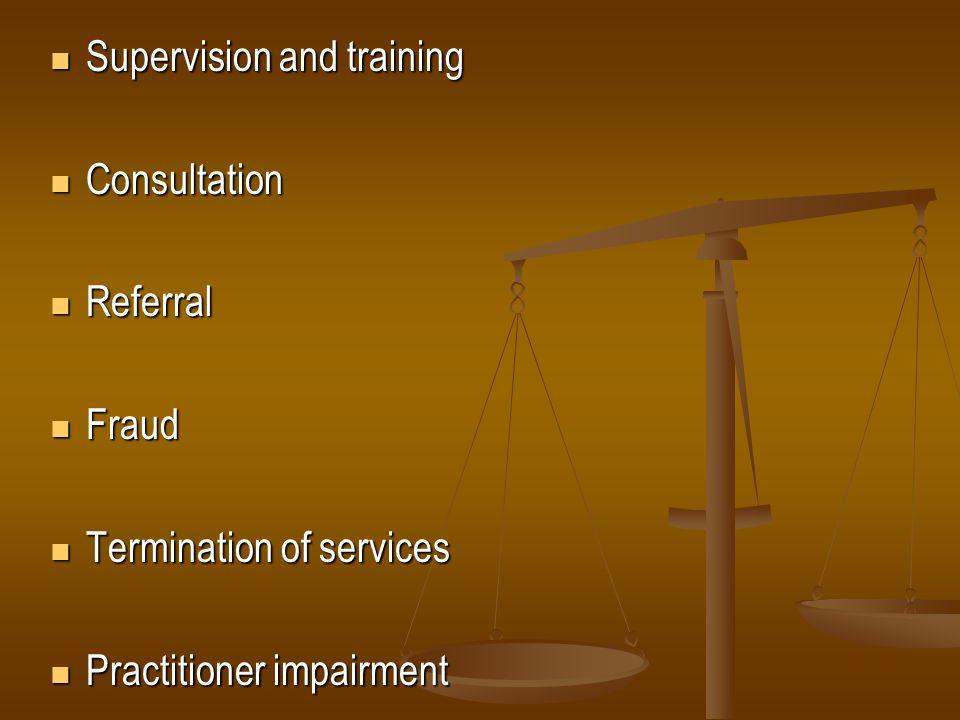 Supervision and training Supervision and training Consultation Consultation Referral Referral Fraud Fraud Termination of services Termination of servi