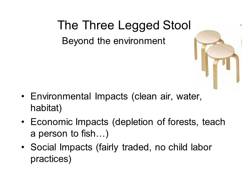 The Three Legged Stool Beyond the environment Environmental Impacts (clean air, water, habitat) Economic Impacts (depletion of forests, teach a person to fish…) Social Impacts (fairly traded, no child labor practices)