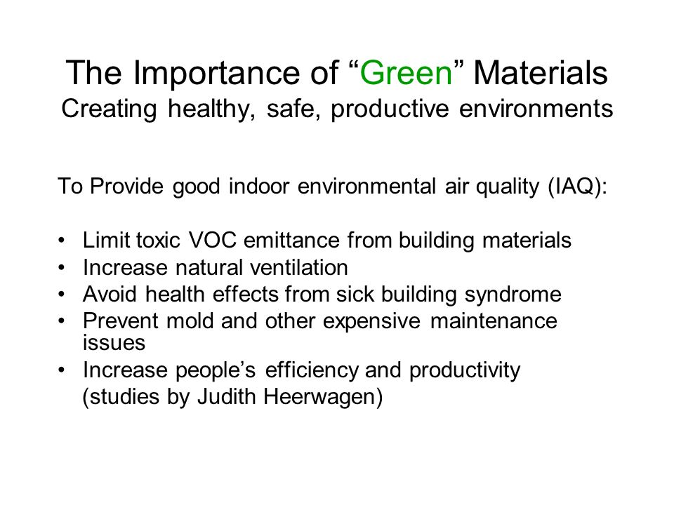Designing for Sustainability Simple concepts: Minimizing and Maximizing Minimize waste (recycle, salvage, re-use) Minimize material use (do you really need to use it?) Maximize material performance (durability, ease of maintenance) Maximize material lifecycle (Cradle to Cradle)
