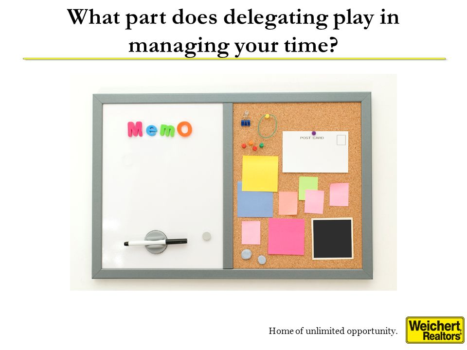 Home of unlimited opportunity. What part does delegating play in managing your time?