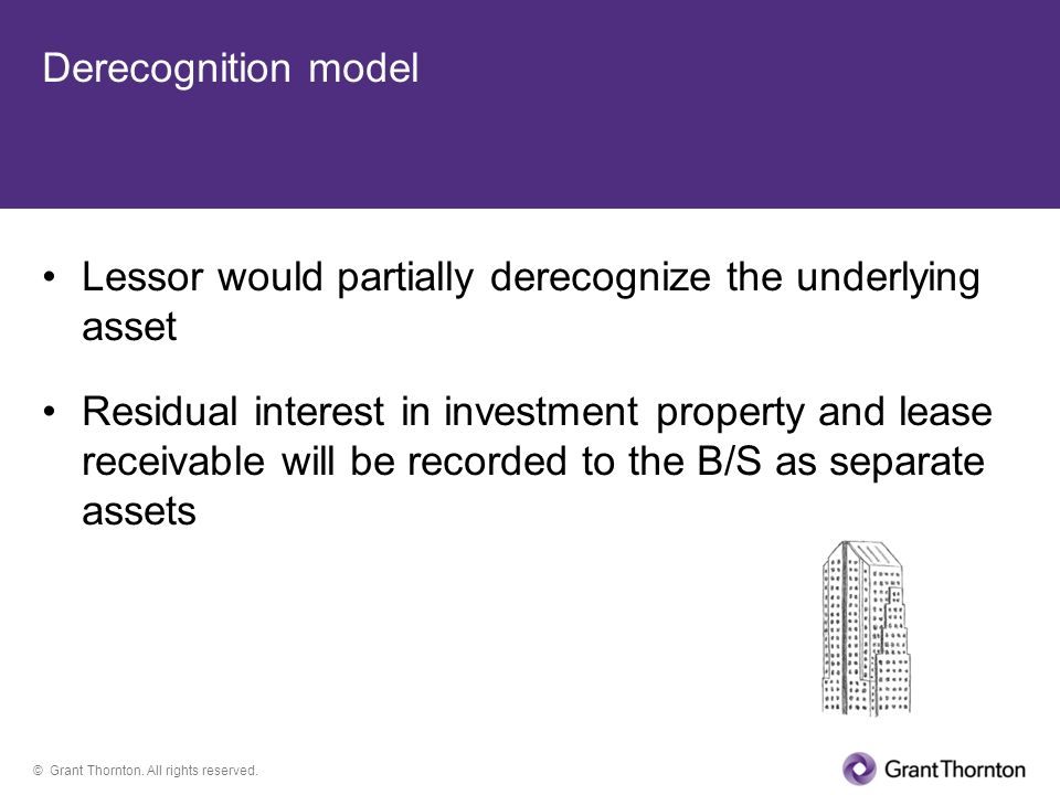 © Grant Thornton. All rights reserved. Derecognition model Lessor would partially derecognize the underlying asset Residual interest in investment pro