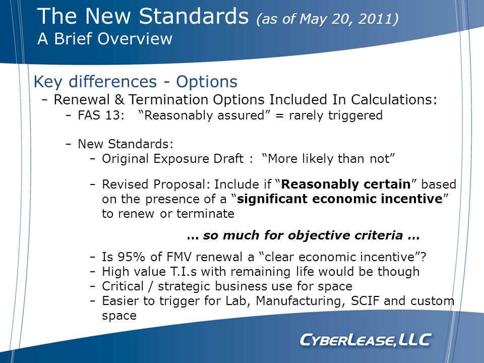Renewal & Termination Options Included In Calculations: FAS 13: Reasonably assured = rarely triggered New Standards: Original Exposure Draft : More li