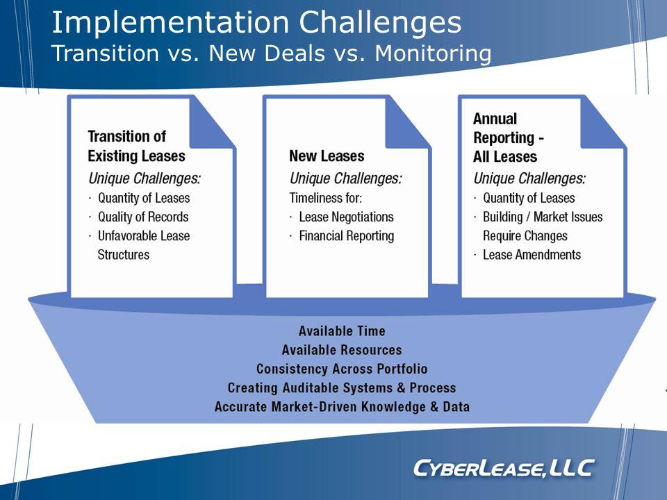 Implementation Challenges Transition vs. New Deals vs. Monitoring