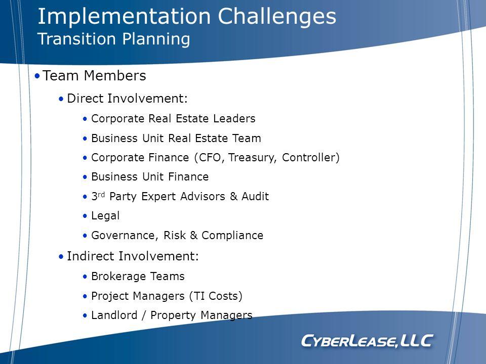 Team Members Direct Involvement: Corporate Real Estate Leaders Business Unit Real Estate Team Corporate Finance (CFO, Treasury, Controller) Business U