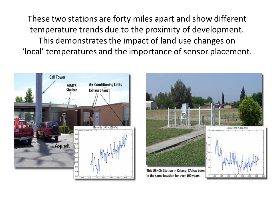 These two stations are forty miles apart and show different temperature trends due to the proximity of development. This demonstrates the impact of la