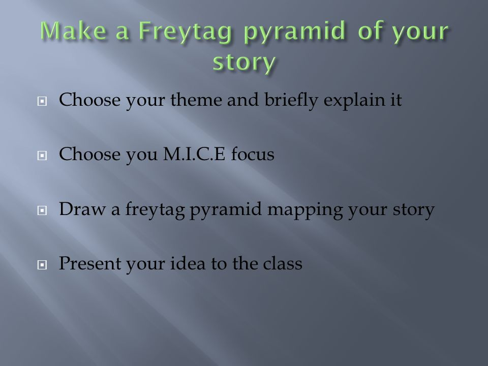 Choose your theme and briefly explain it Choose you M.I.C.E focus Draw a freytag pyramid mapping your story Present your idea to the class