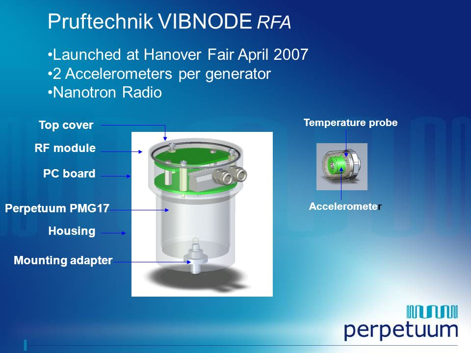 Pruftechnik VIBNODE RFA Top cover RF module Perpetuum PMG17 Housing PC board Accelerometer Mounting adapter Temperature probe Launched at Hanover Fair