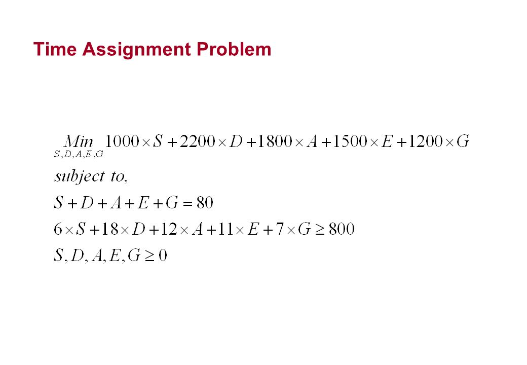 Time Assignment Problem