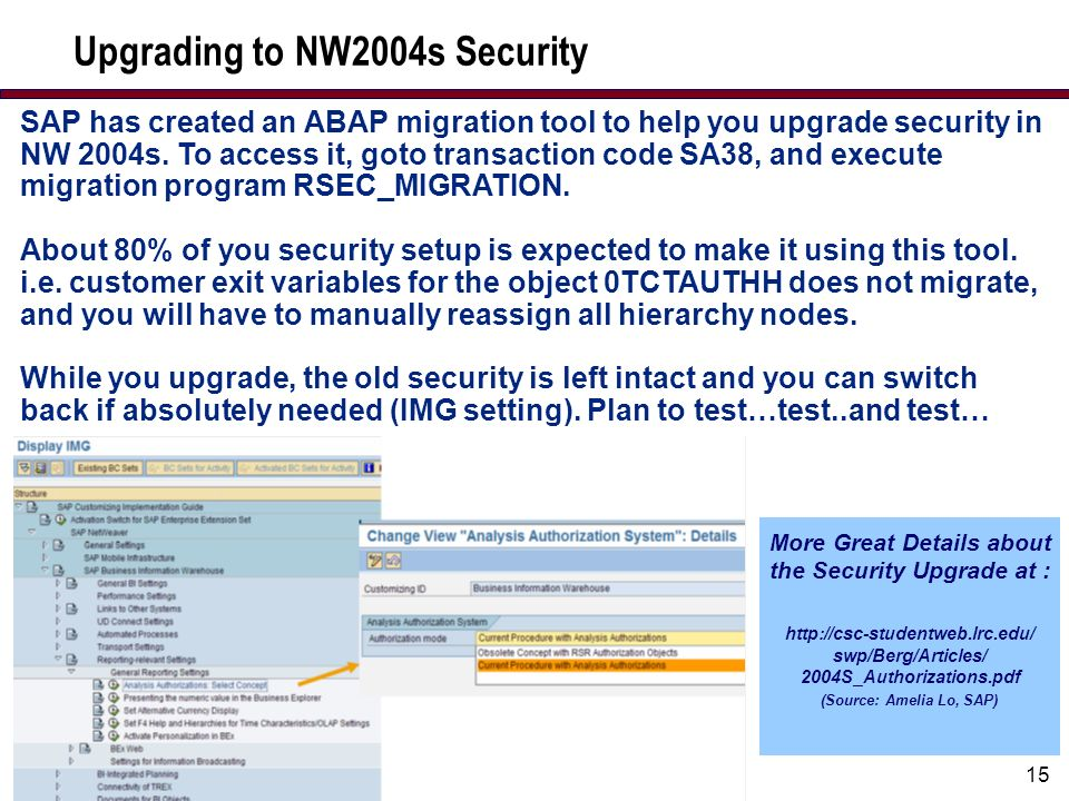 15 Upgrading to NW2004s Security More Great Details about the Security Upgrade at : http://csc-studentweb.lrc.edu/ swp/Berg/Articles/ 2004S_Authorizations.pdf (Source: Amelia Lo, SAP) SAP has created an ABAP migration tool to help you upgrade security in NW 2004s.