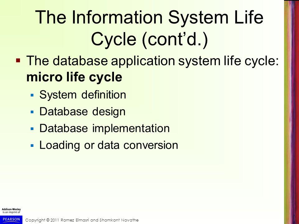 Copyright © 2011 Ramez Elmasri and Shamkant Navathe The Information System Life Cycle (contd.) The database application system life cycle: micro life