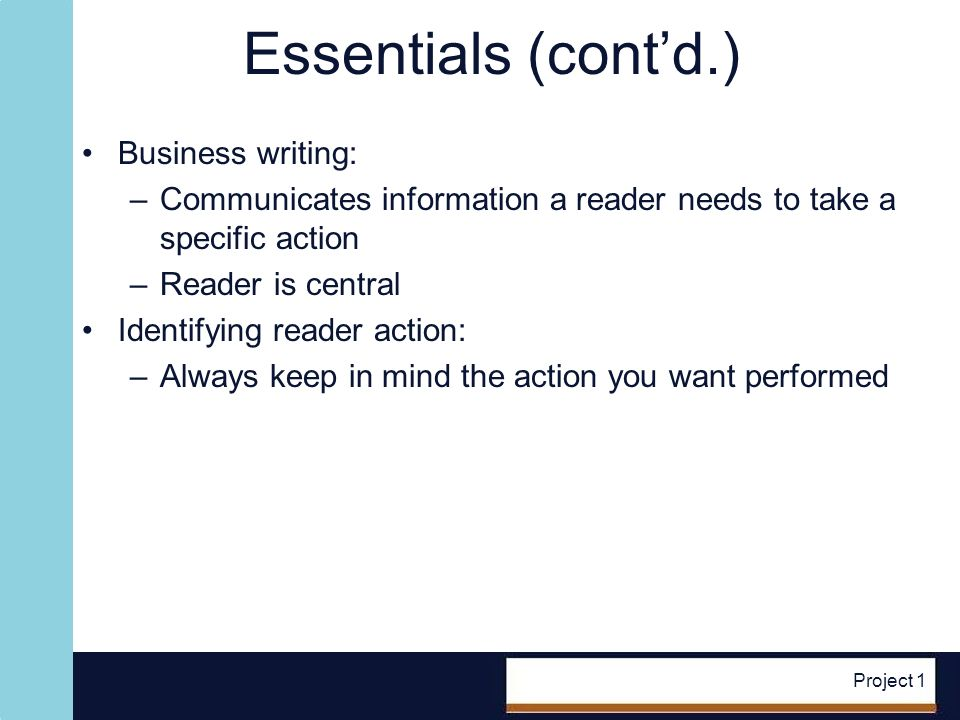 Project 1 Essentials (contd.) Figure 1-1 Sample reader actions