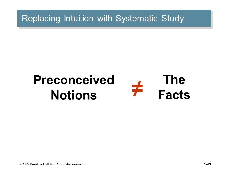 © 2005 Prentice Hall Inc. All rights reserved.1–18 Replacing Intuition with Systematic Study Systematic study Looking at relationships, attempting to