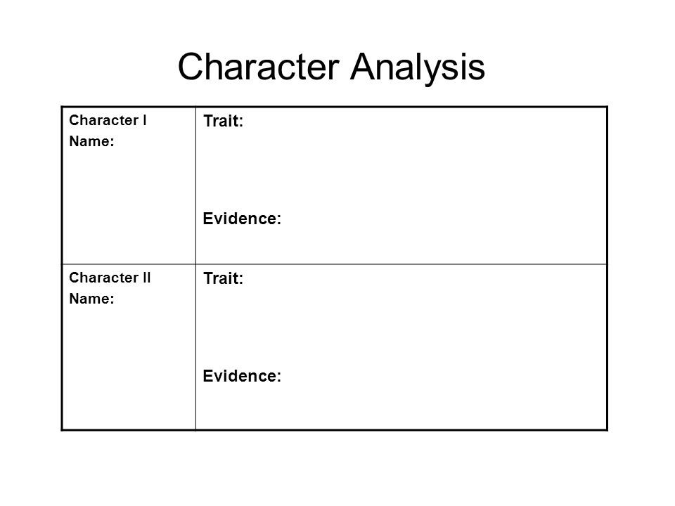 Character I Name: Trait: Evidence: Character II Name: Trait: Evidence: Character Analysis
