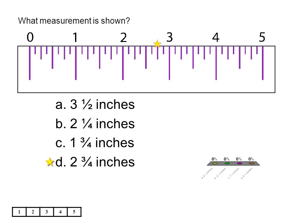 What measurement is shown? 12345 a. 3 ½ inches b. 2 ¼ inches c. 1 ¾ inches d. 2 ¾ inches