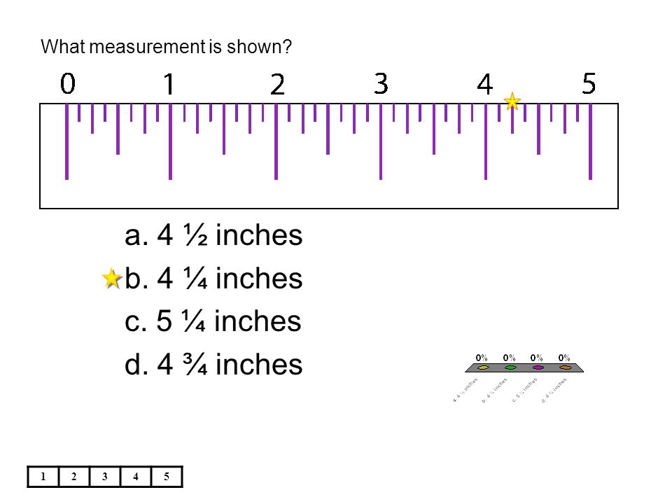What measurement is shown? 12345 a. 4 ½ inches b. 4 ¼ inches c. 5 ¼ inches d. 4 ¾ inches
