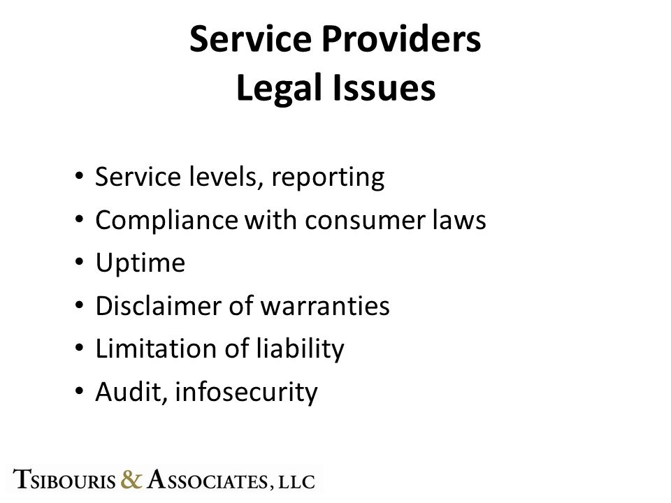 Service Providers Legal Issues Service levels, reporting Compliance with consumer laws Uptime Disclaimer of warranties Limitation of liability Audit, infosecurity