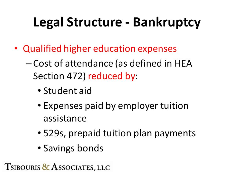Legal Structure - Bankruptcy Qualified higher education expenses – Cost of attendance (as defined in HEA Section 472) reduced by: Student aid Expenses