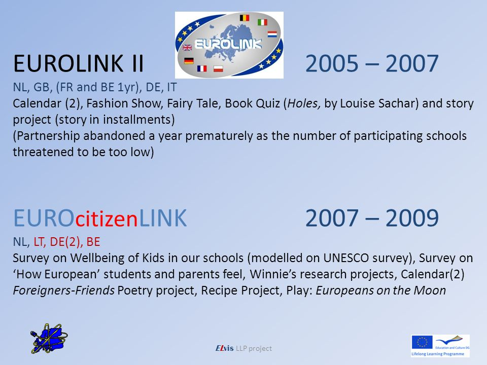 ELvis LLP project EUROLINK II2005 – 2007 NL, GB, (FR and BE 1yr), DE, IT Calendar (2), Fashion Show, Fairy Tale, Book Quiz (Holes, by Louise Sachar) and story project (story in installments) (Partnership abandoned a year prematurely as the number of participating schools threatened to be too low) EURO citizen LINK2007 – 2009 NL, LT, DE(2), BE Survey on Wellbeing of Kids in our schools (modelled on UNESCO survey), Survey on How European students and parents feel, Winnies research projects, Calendar(2) Foreigners-Friends Poetry project, Recipe Project, Play: Europeans on the Moon