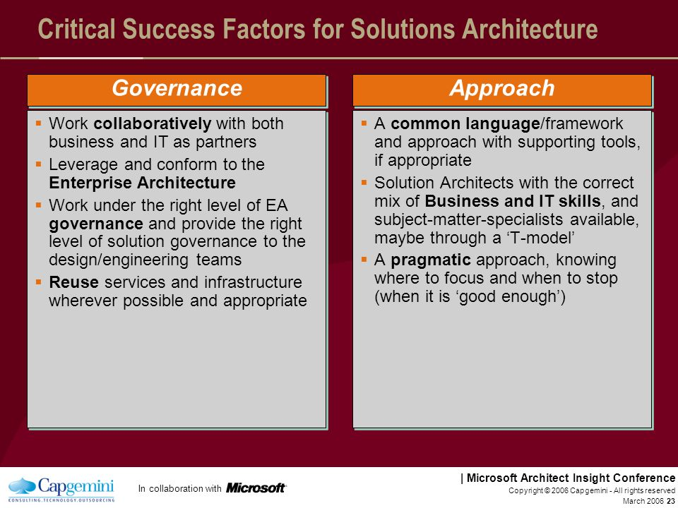 In collaboration with | Microsoft Architect Insight Conference March 2006 Copyright © 2006 Capgemini - All rights reserved 22 Critical Success Factors
