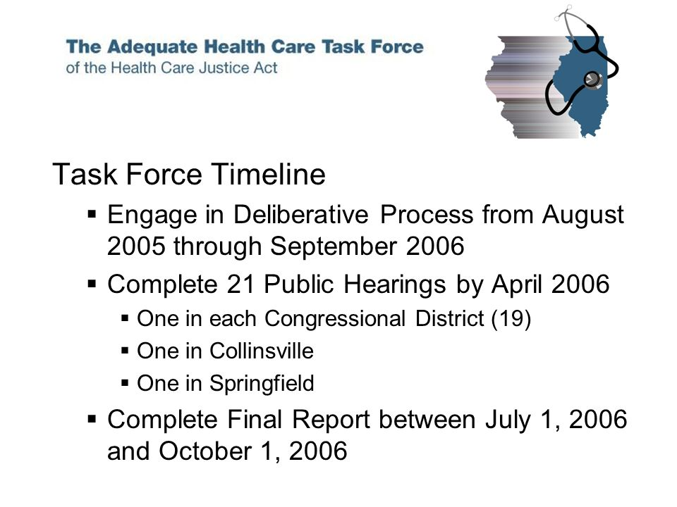 Task Force Timeline Engage in Deliberative Process from August 2005 through September 2006 Complete 21 Public Hearings by April 2006 One in each Congressional District (19) One in Collinsville One in Springfield Complete Final Report between July 1, 2006 and October 1, 2006