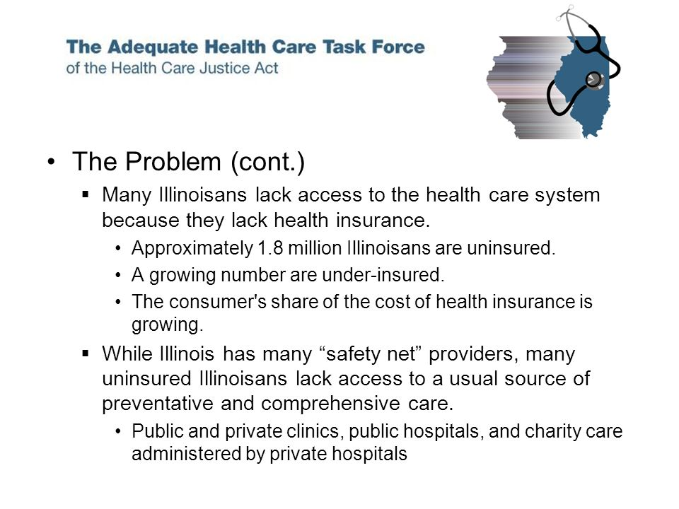 The Problem (cont.) Many Illinoisans lack access to the health care system because they lack health insurance.