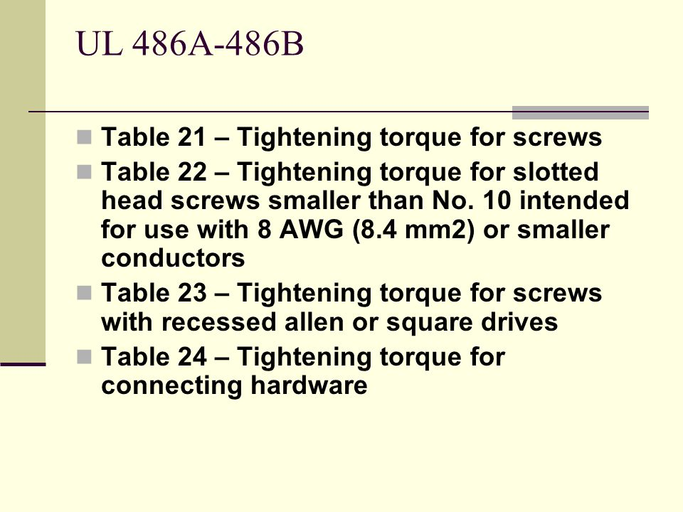 UL 486A-486B Table 21 – Tightening torque for screws Table 22 – Tightening torque for slotted head screws smaller than No. 10 intended for use with 8