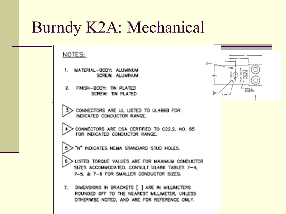 Burndy K2A: Mechanical