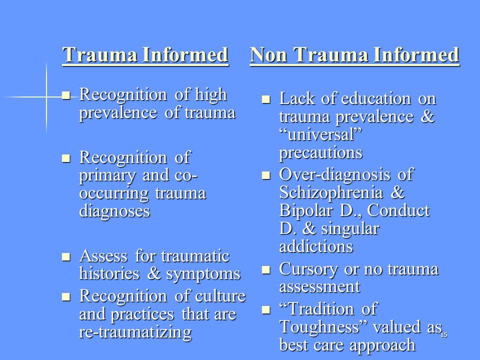 15 Trauma Informed Non Trauma Informed Trauma Informed Non Trauma Informed Recognition of high prevalence of trauma Recognition of high prevalence of