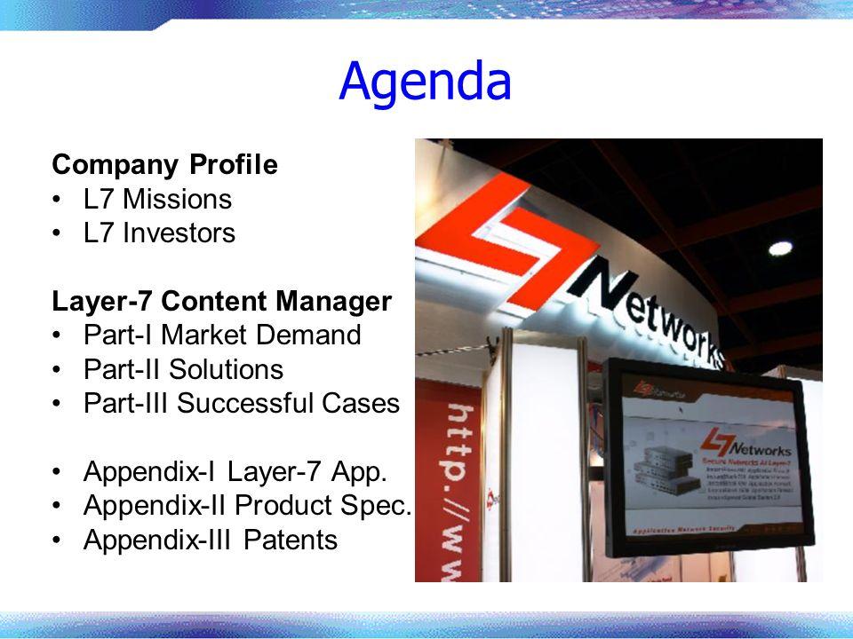 Agenda Company Profile L7 Missions L7 Investors Layer-7 Content Manager Part-I Market Demand Part-II Solutions Part-III Successful Cases Appendix-I La