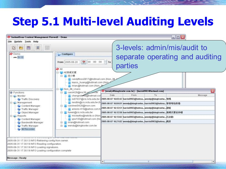 Step 5.1 Multi-level Auditing Levels 3-levels: admin/mis/audit to separate operating and auditing parties