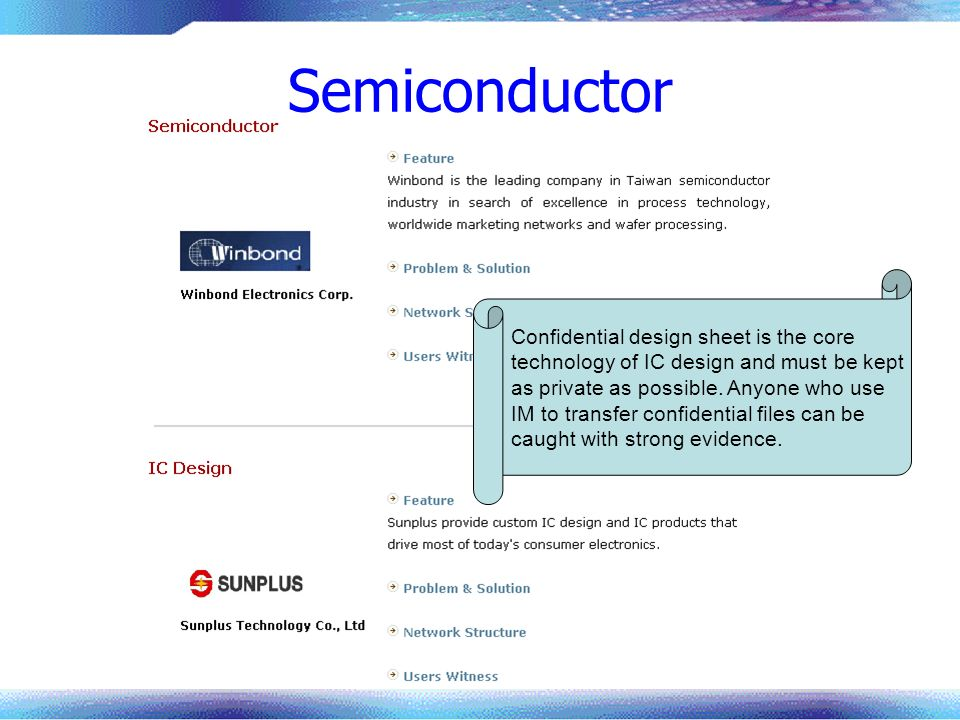 Semiconductor Confidential design sheet is the core technology of IC design and must be kept as private as possible. Anyone who use IM to transfer con