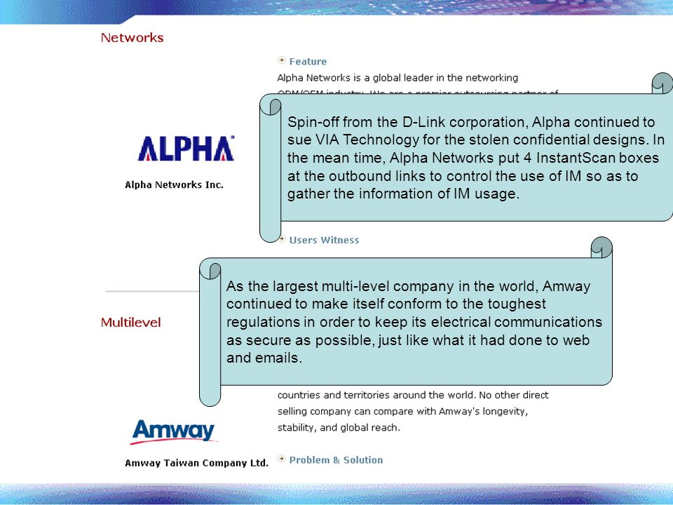 Spin-off from the D-Link corporation, Alpha continued to sue VIA Technology for the stolen confidential designs. In the mean time, Alpha Networks put