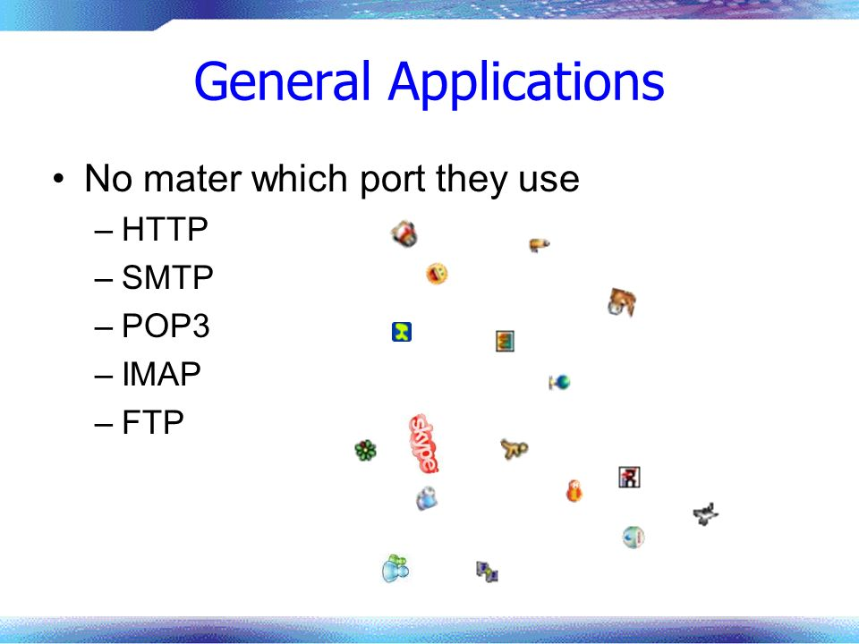 General Applications No mater which port they use –HTTP –SMTP –POP3 –IMAP –FTP