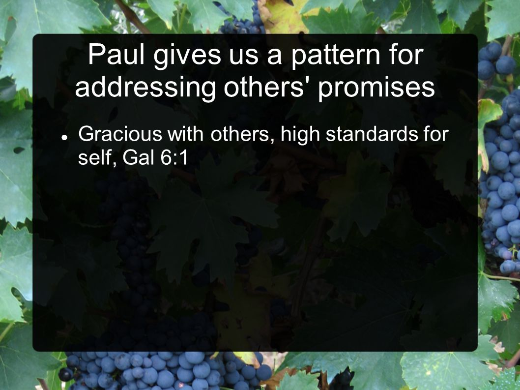 Paul gives us a pattern for addressing others' promises Gracious with others, high standards for self, Gal 6:1