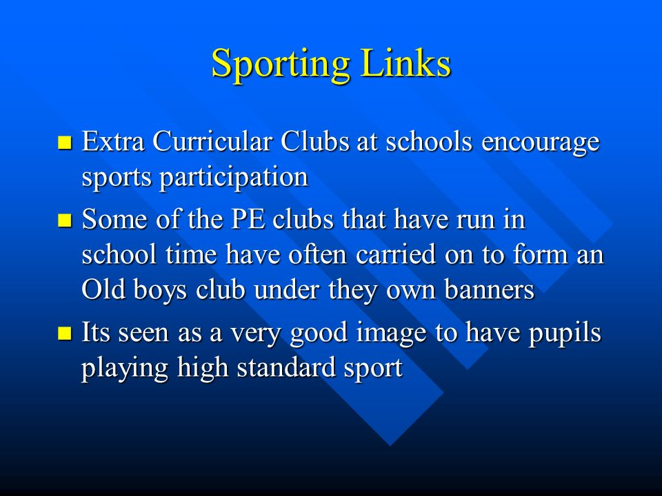 Local Authority Provision They have to provide facilities for the local people to take part in sport and these come under two categories: School and Educational Facilities Leisure Centres