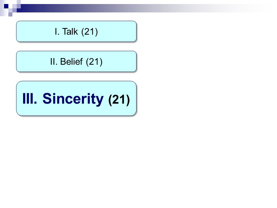 I. Talk (21) III. Sincerity (21) II. Belief (21)