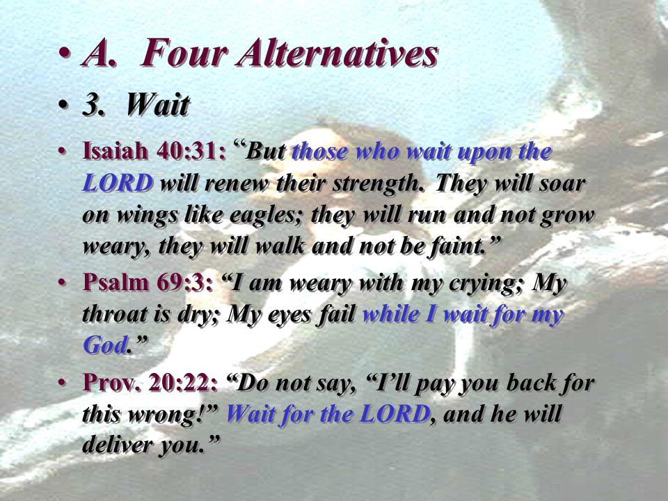A. Four Alternatives 3. Wait Isaiah 40:31: But those who wait upon the LORD will renew their strength. They will soar on wings like eagles; they will