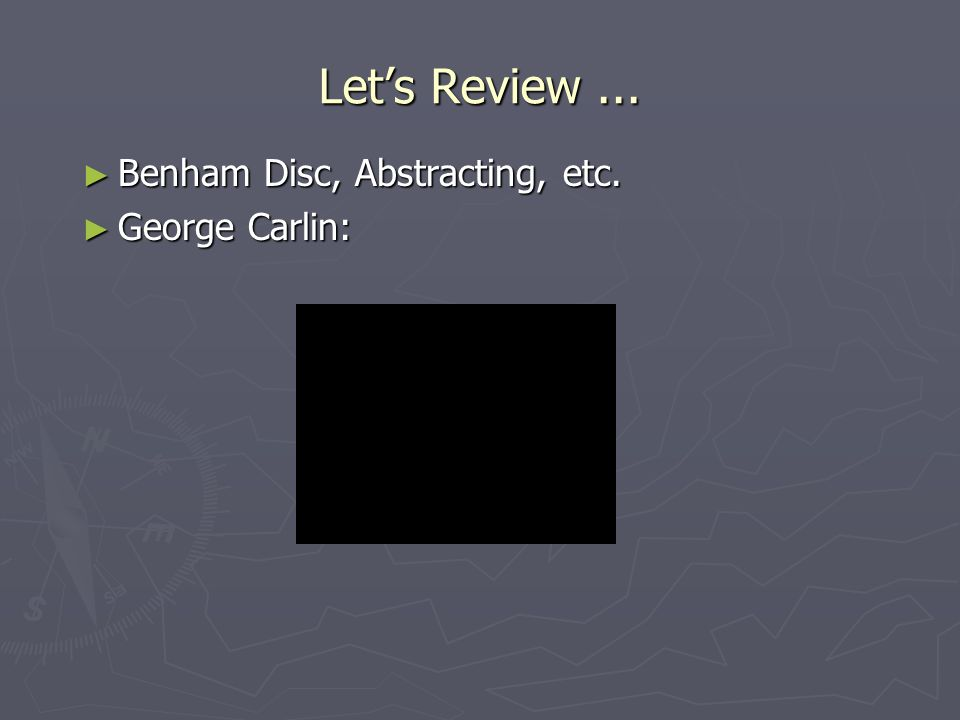 Lets Review... Benham Disc, Abstracting, etc. Benham Disc, Abstracting, etc.