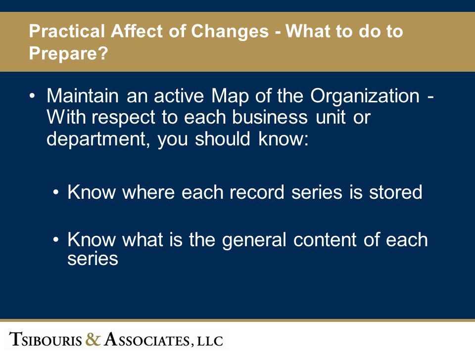 59 Practical Affect of Changes - What to do to Prepare.